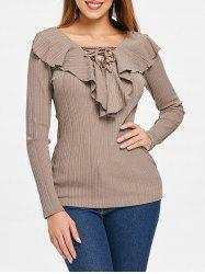 Criss Cross Collar Full Sleeve Top -