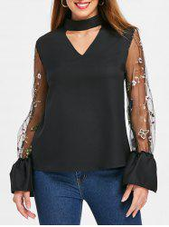 Embroidered Mesh Sleeve Keyhole Blouse -
