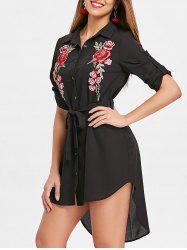 Floral Embroidery Button Up Chiffon Shirtdress -