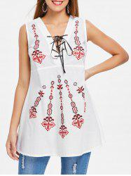 Ethnic Print Criss Cross Sleeveless Blouse -