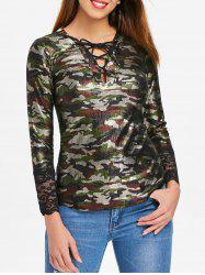 Long Sleeve Lace Up Camouflage Top -