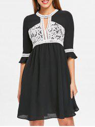Lace Color Block Keyhole Dress -