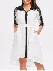 Lace Panel Color Trim Chiffon Shirtdress -
