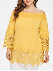 Plus Size Smocked Off The Shoulder Blouse -