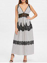Plunging Neckline Dotted Maxi Dress -
