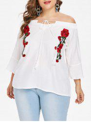 Floral Embroidery Plus Size Off The Shoulder Blouse -