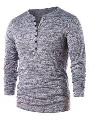 Long Sleeve Half Button Henley T-Shirt -