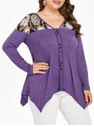 Plus Size Long Sleeve Mesh Yoke Top -