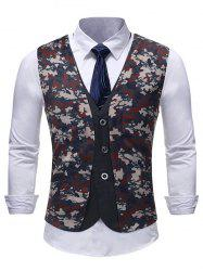 Single Breasted Front Camo Faux Two Pieces Waistcoat -