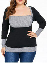 Color Block Plus Size Square Neck T-shirt -