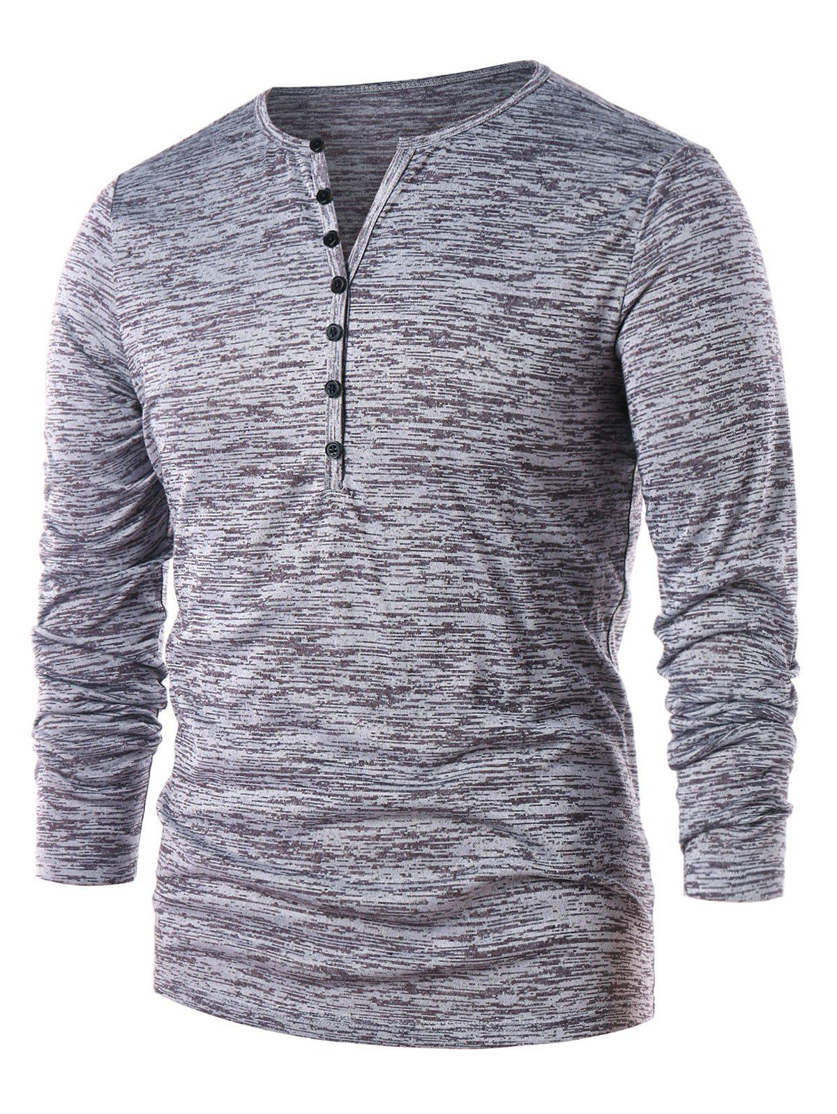 Fancy Long Sleeve Half Button Henley T-Shirt