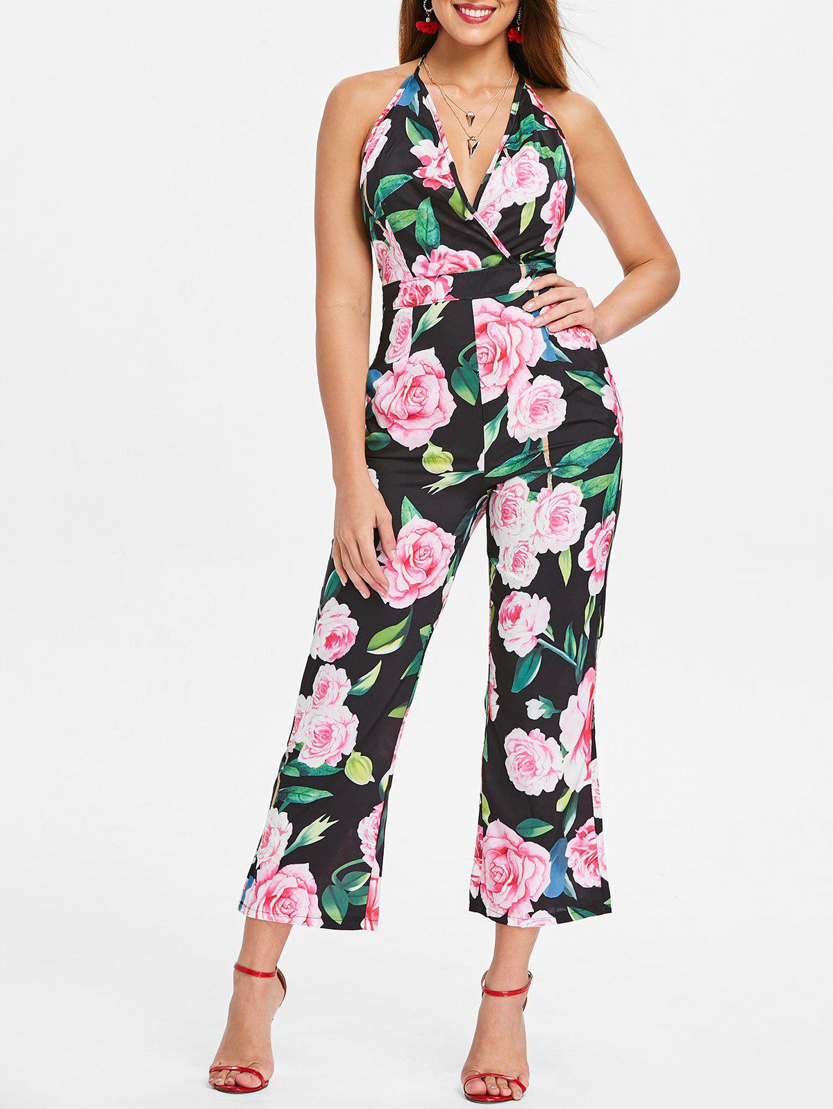 Fashion Halter Neck Floral Print Jumpsuit