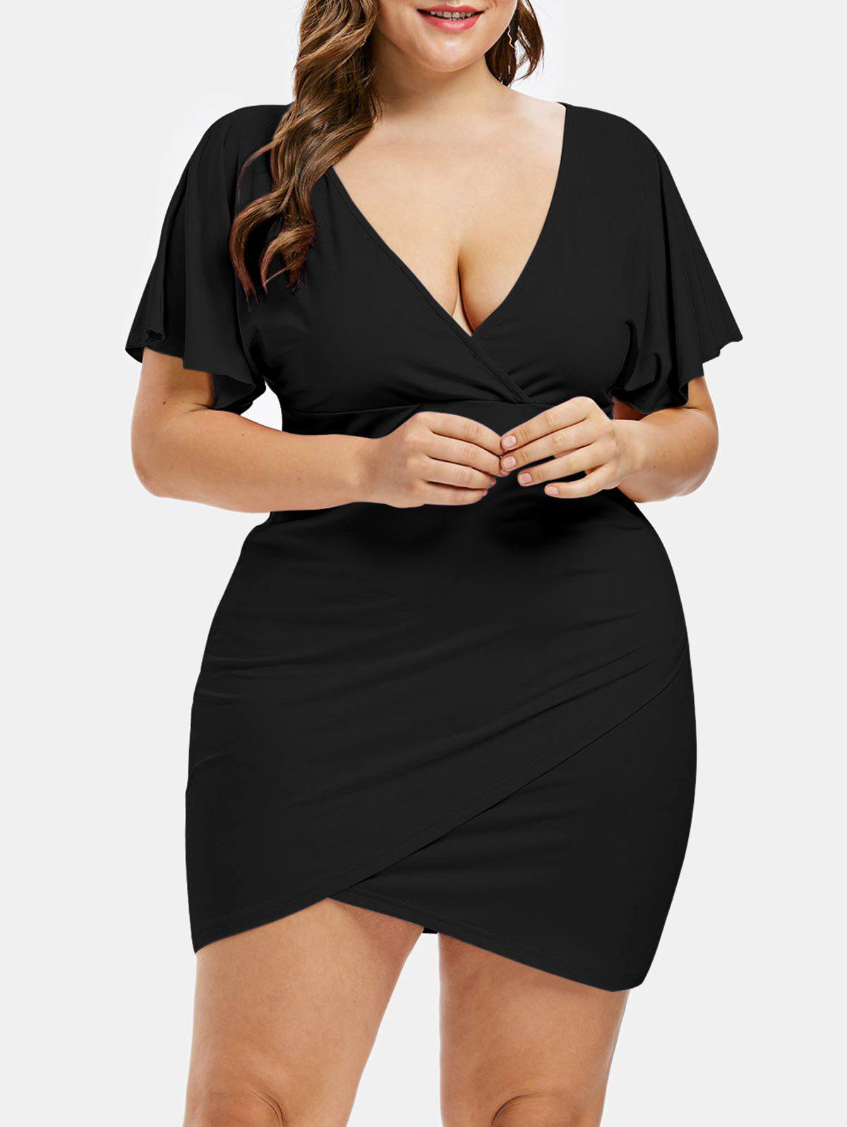 Chic Plus Size Plunging Neck Tulip Dress