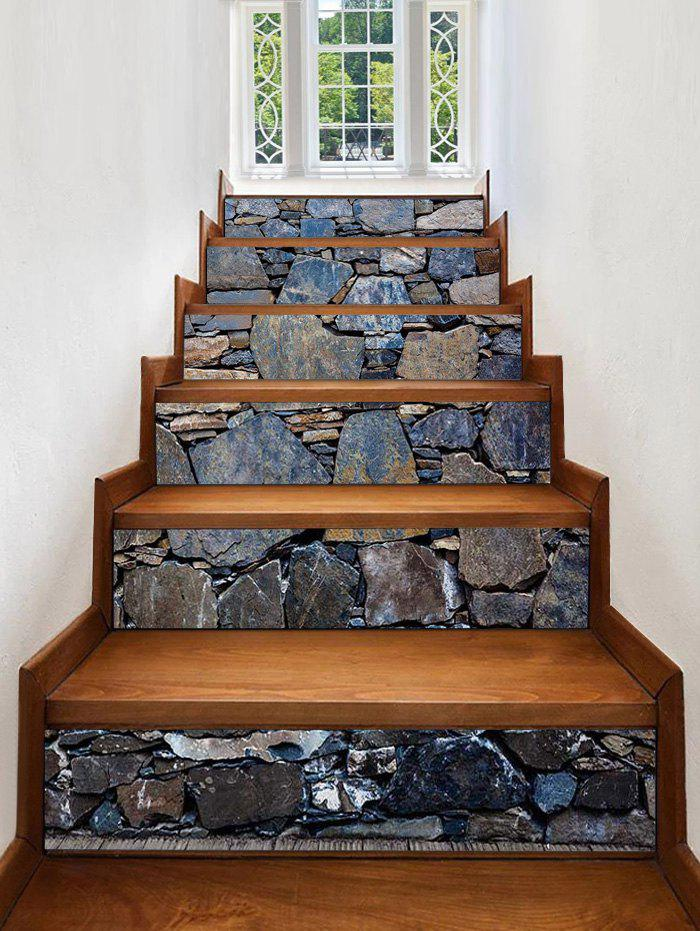 Fancy Stone Wall Print Decorative Stair Stickers