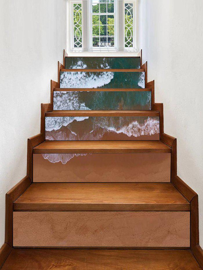 Latest Beach Waves Print Decorative Stair Stickers