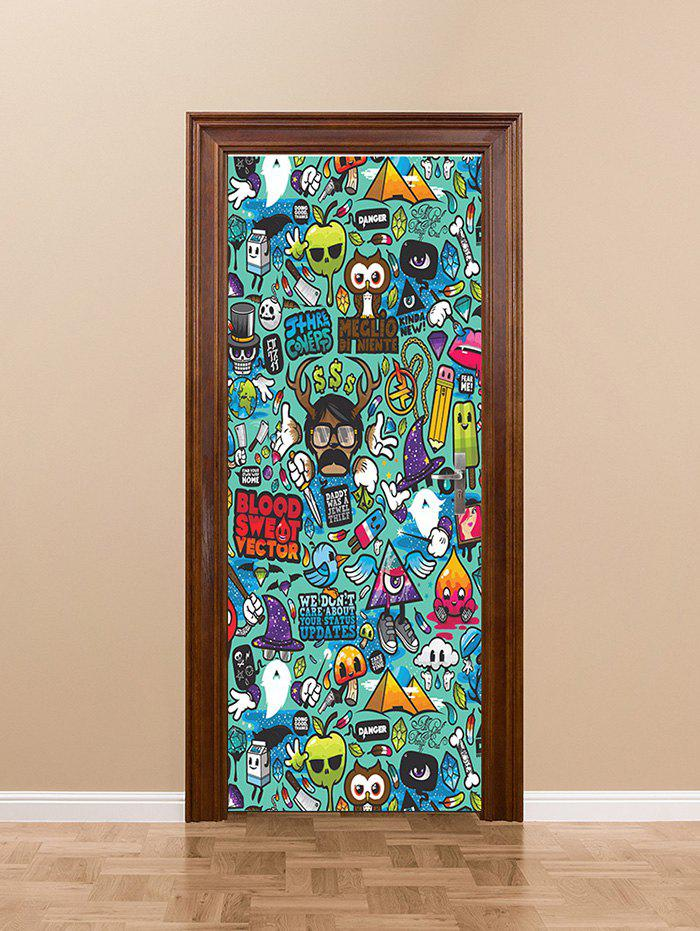 Buy Cartoon Doodles Pattern Removable Door Stickers