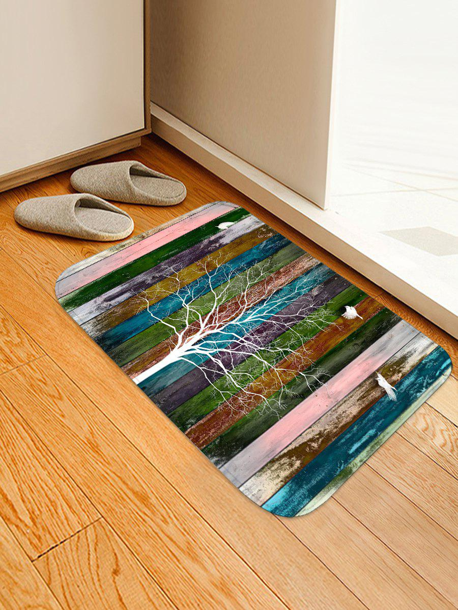 Shops Striped Tree Birds Print Floor Mat