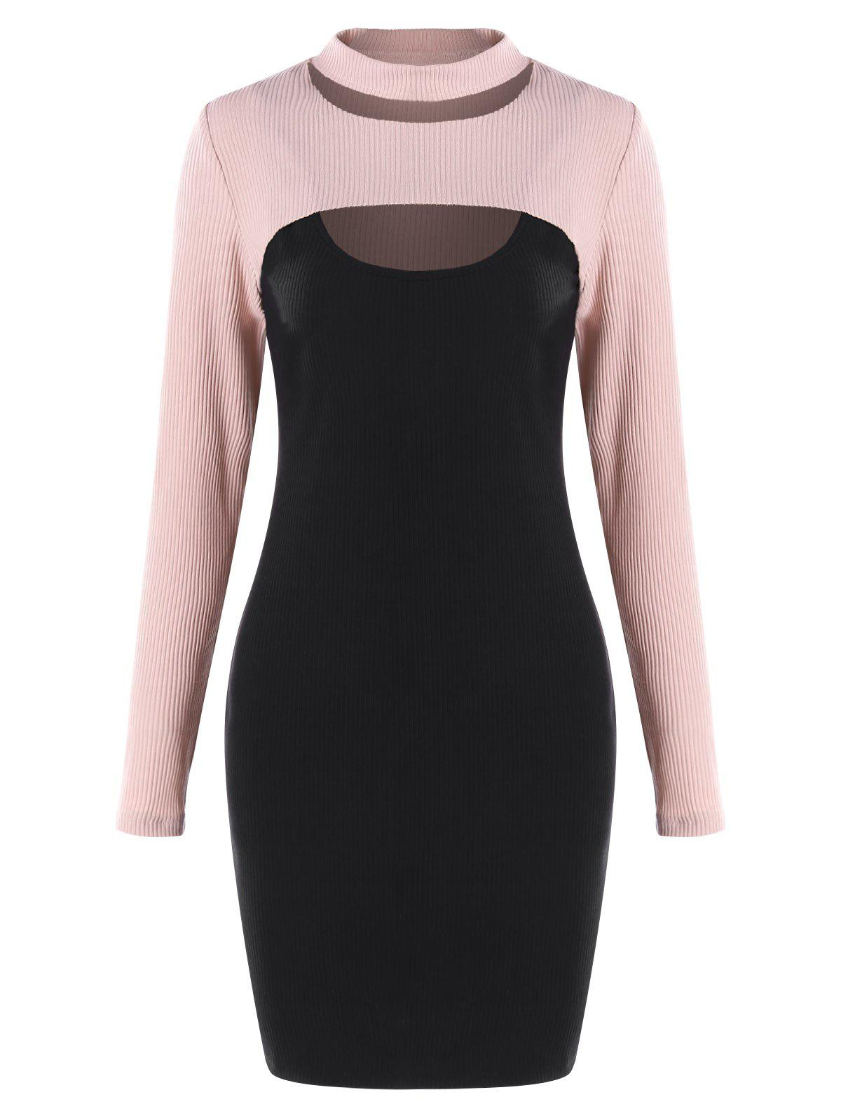 Cheap Cut Out Knit Top and Bodycon Dress