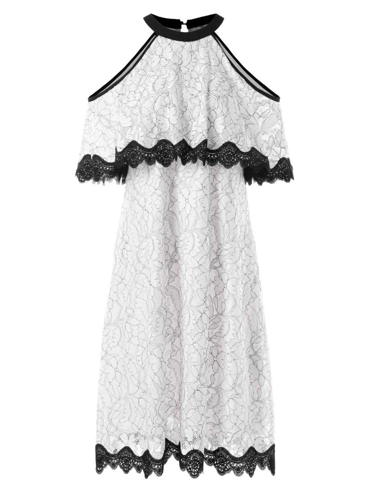 Store Cold Shoulder Lace Trim Floral Swing Dress