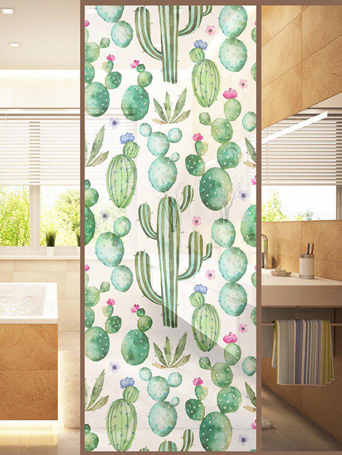 Store Frosted Succulents Glass Sticker for Window Bathroom
