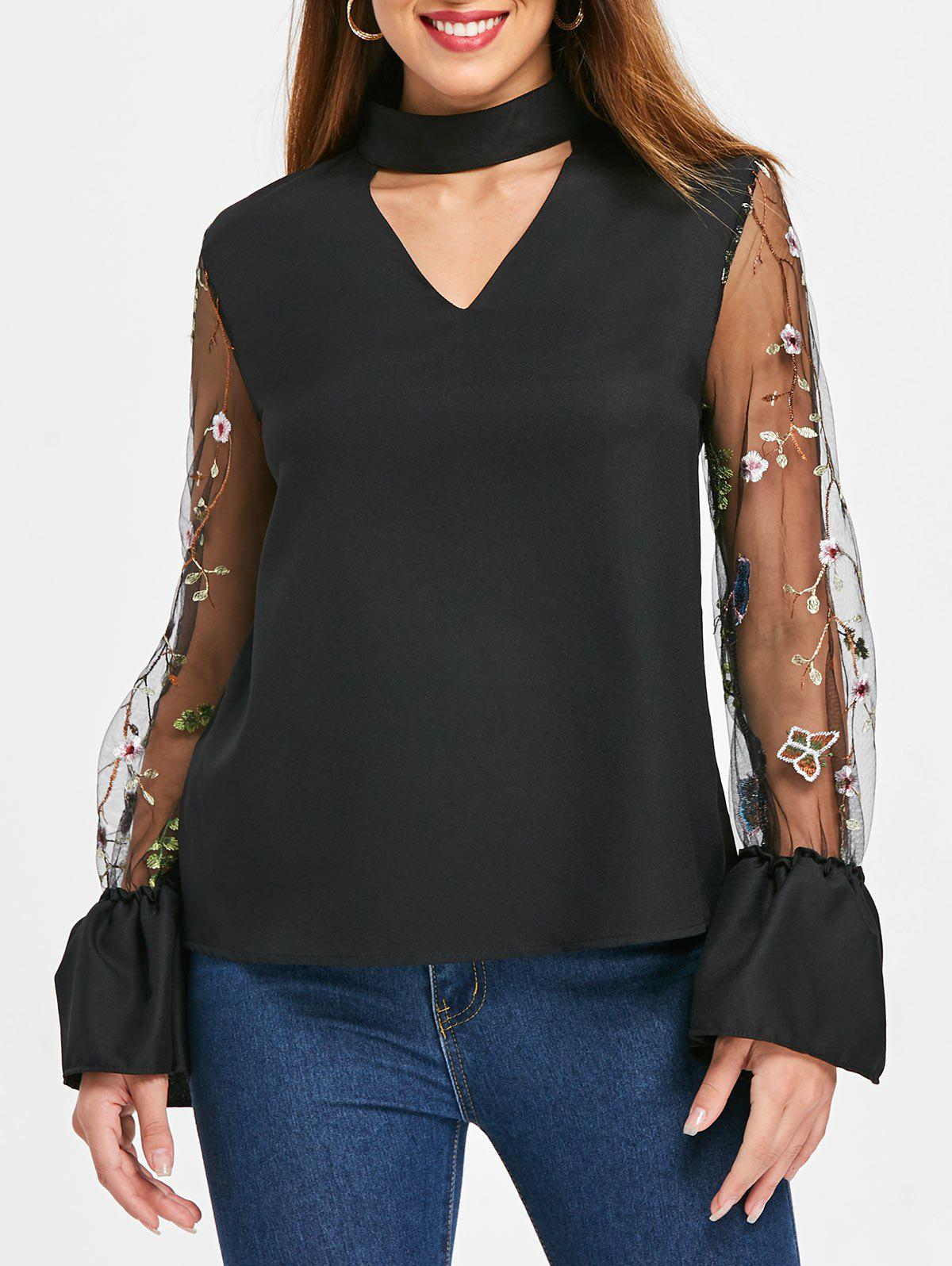 Chic Embroidered Mesh Sleeve Keyhole Blouse