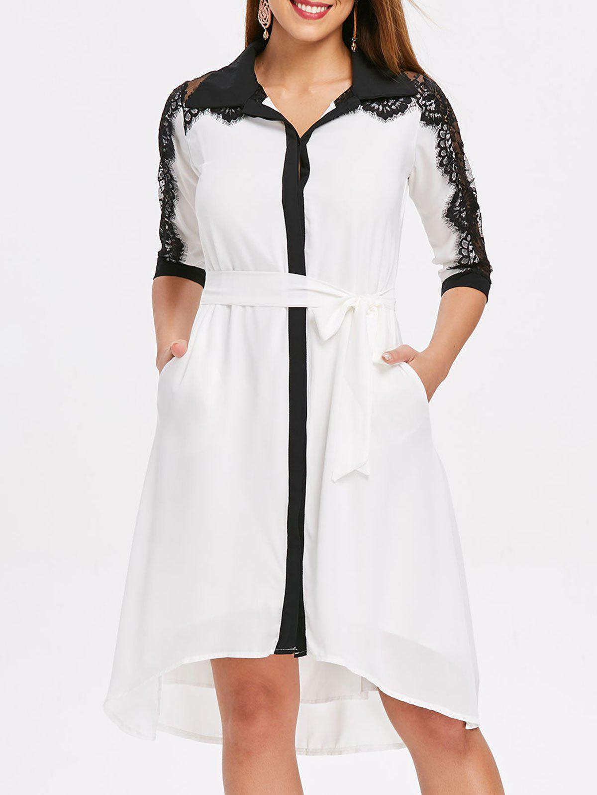 Fancy Lace Panel Color Trim Chiffon Shirtdress