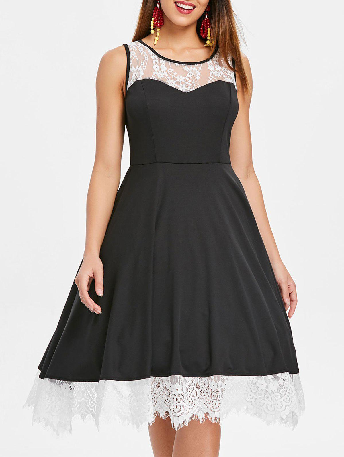 Outfit Lace Trim Sleeveless Vintage Dress