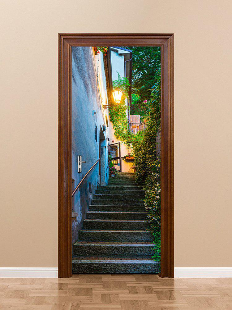 New Outdoor Flower Vine Stair Road Lamp Print Door Stickers