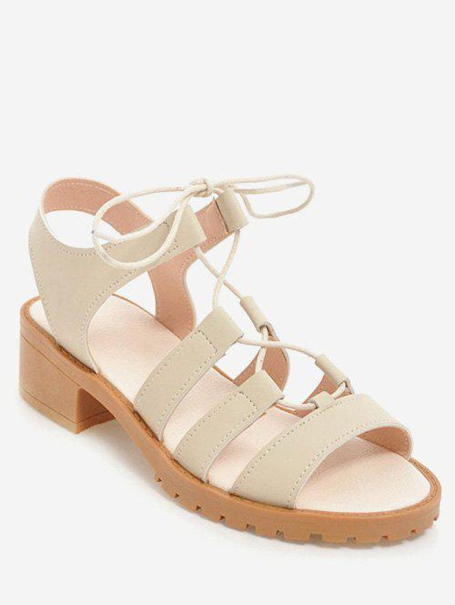 Fancy Plus Size Block Heel Casual Lace Up Sandals