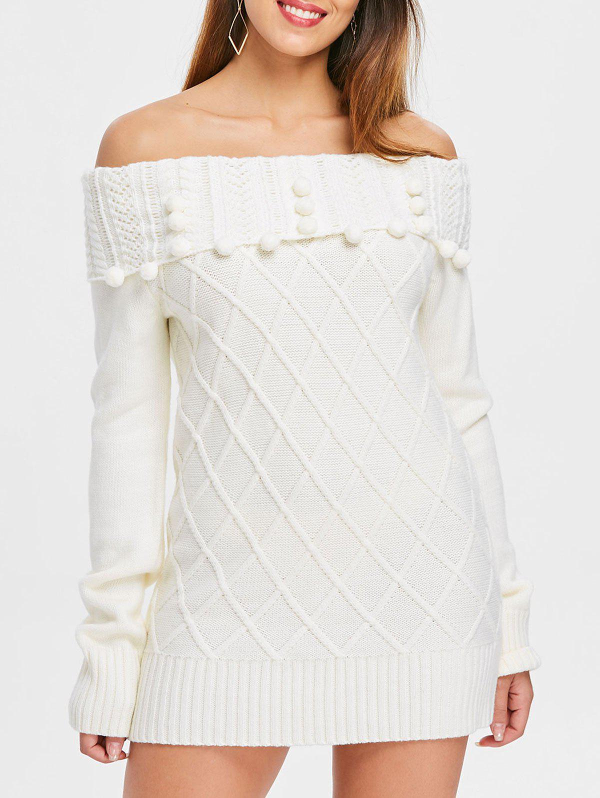 Affordable Off The Shoulder Mini Sweater Dress
