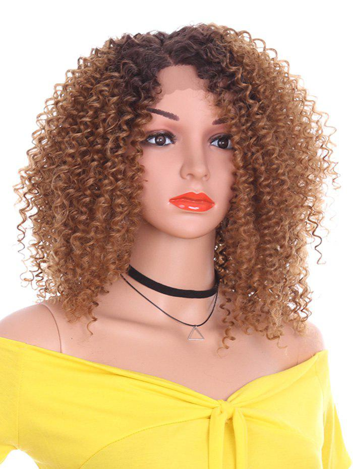 Fancy Short Side Bang Kinky Curly Synthetic Lace Front Wig