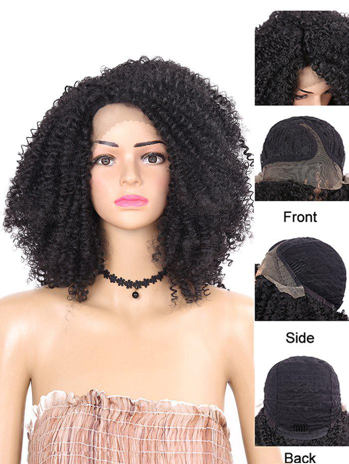 Affordable Short Side Bang Kinky Curly Synthetic Lace Front Wig
