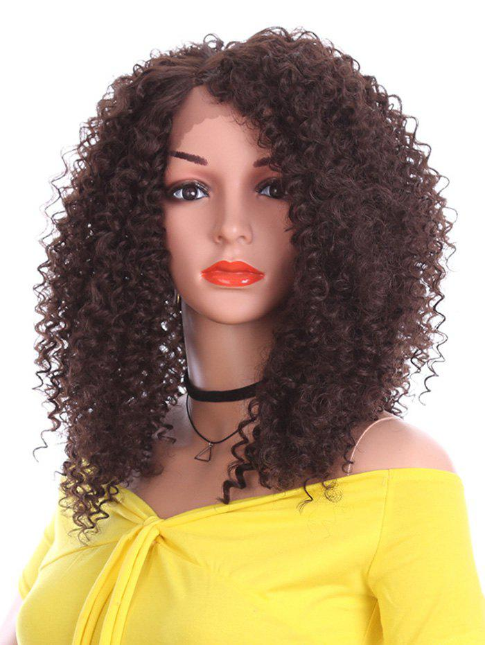 Outfit Short Side Bang Kinky Curly Synthetic Lace Front Wig