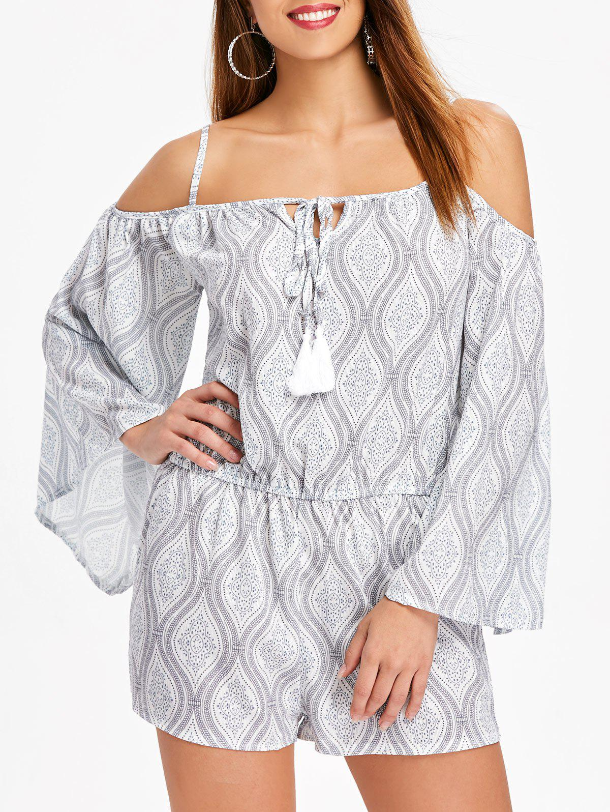 Affordable Ethnic Print Flare Sleeve Romper