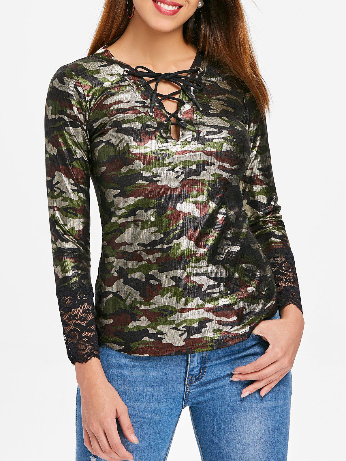 Store Long Sleeve Lace Up Camouflage Top