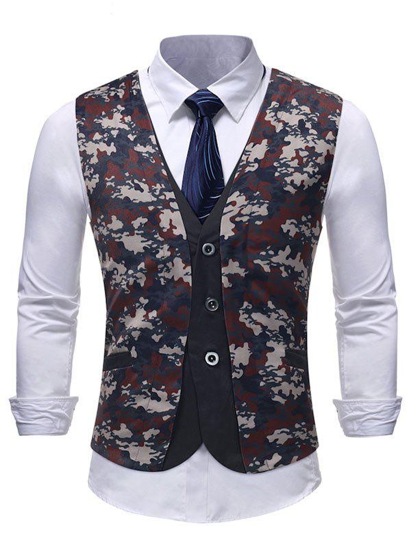 New Single Breasted Front Camo Fake Two Pieces Waistcoat