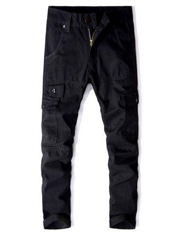 Multi-button Straight Cargo Pants