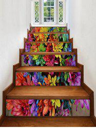 Colorful Flower Print Stair Stickers -