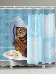 Funny Cat Take Bathing Print Shower Curtain -