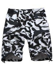 Drawstring Bottom Camouflage Casual Cargo Shorts -