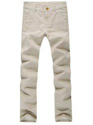 Pockets Zipper Fly Textured Casual Pants -