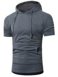 Simple Casual Drawstring Hoodie T-shirt -