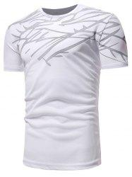 Short Sleeve Irregular Figure Printed Activewear T-shirt -