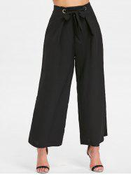 Zipper Waist Belted Wide Leg Pants -