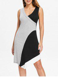 Asymmetric Color Block Overlap Dress -