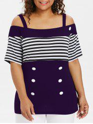 Plus Size Striped Cold Shoulder T-shirt -