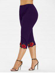Plus Size Flower Applique Leggings -