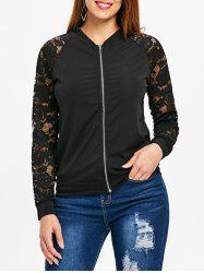 Lace Sleeve Bomber Jacket -