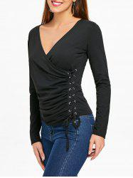 Side Lace Up Surplice Top -