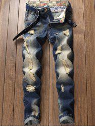 Zip Fly Distressed Faded Wash Jeans -